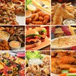 Collage of pub food including cheese burgers, wing...