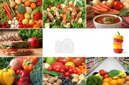 Photo for Healthy eating collage. Lots of fruits and vegetables, nuts and whole grains are included. - Royalty Free Image