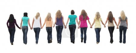 Photo for Ten beautiful young women, walking hand in hand. - Royalty Free Image
