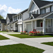 Small town residential street of new town homes....