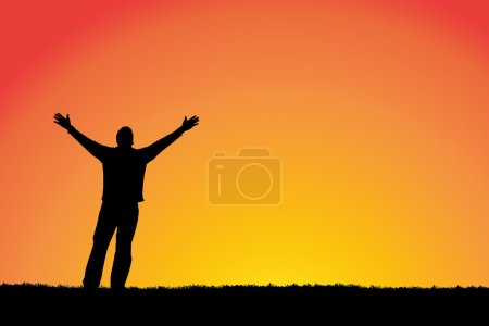 """""""Faith"""" Man with arms outstretched to a sunset sky"""