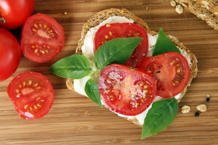Photo for Tomato and basil summer sandwich. - Royalty Free Image