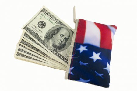 American Flag Wallet with 100 dollar bills