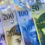 Swiss Franc bills background...