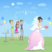 Happy bride with friends