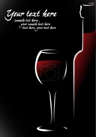 Illustration pour Bouteille et verre avec vin rouge - image libre de droit