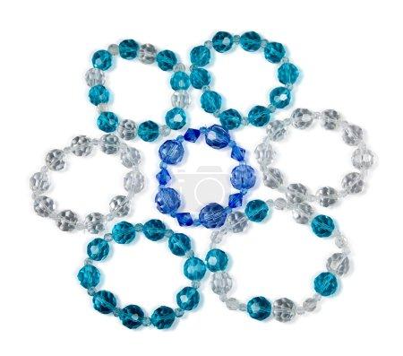 Bracelets made of glass on a white background