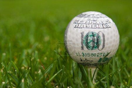 Money on golf ball