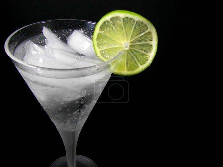Lime slice on cocktail