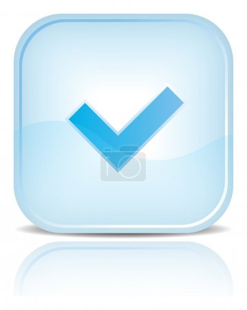 Blue water web button with check mark sign.