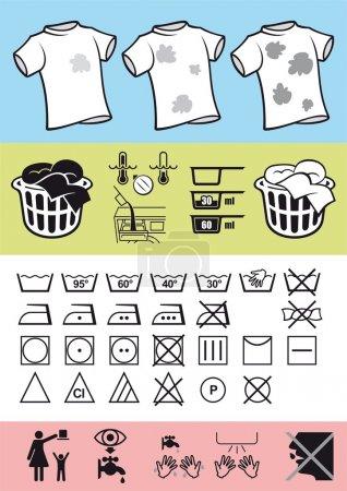 Illustration pour Symboles d'image sur les vêtements pour aider à corriger l'utilisation des vêtements et prendre soin d'elle. Règles d'aide au lavage et au nettoyage . - image libre de droit