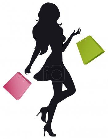Illustration pour La silhouette d'une fille avec des sacs à provisions - image libre de droit