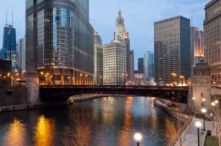Photo for Image of Chicago downtown riverfront at twilight. - Royalty Free Image