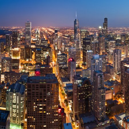 Photo for Aerial view of Chicago downtown at twilight from high above. - Royalty Free Image