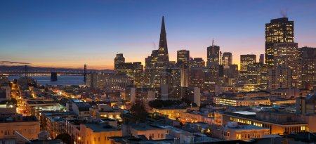 Photo for Image of San Francisco skyline with Bay Bridge at twilight. - Royalty Free Image