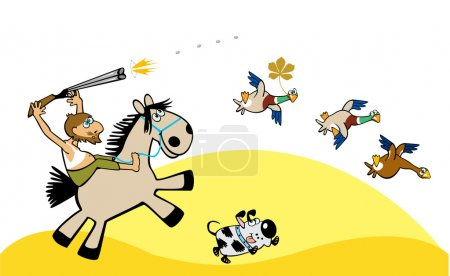 Illustration for Crazy aged hunter on horse with dog hunting wild ducks, cartoon picture isolated on white background, childish illustration - Royalty Free Image