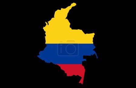 Photo pour Carte de la République de Colombie, sur fond noir - image libre de droit