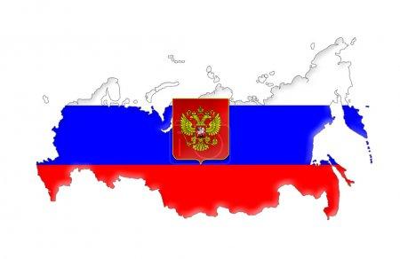 Photo pour Carte de drapeau de fédération de Russie, d'isolement sur le fond blanc - image libre de droit