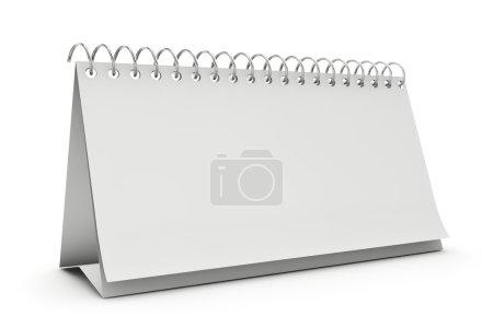 Blank standing desk calendar isolated on white.