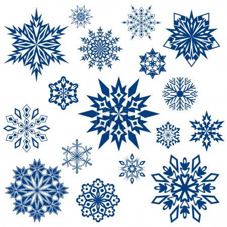 Snowflake shapes collection isolated on white.