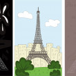 Set of Eiffel tower in three different styles...