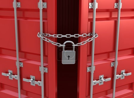 Photo for 3d illustration freight container is closed on the lock - Royalty Free Image