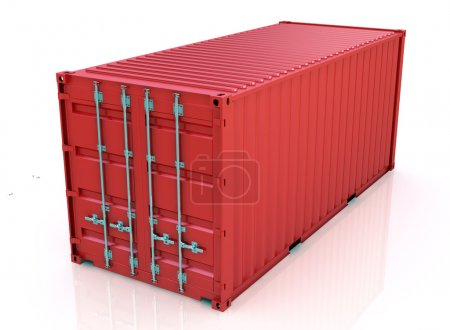 Photo for 3d illustration Red freight container isolated on white background - Royalty Free Image