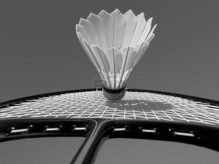 Photo pour Joue au badminton. Raquette de badminton et Shuttlecock close-up . - image libre de droit