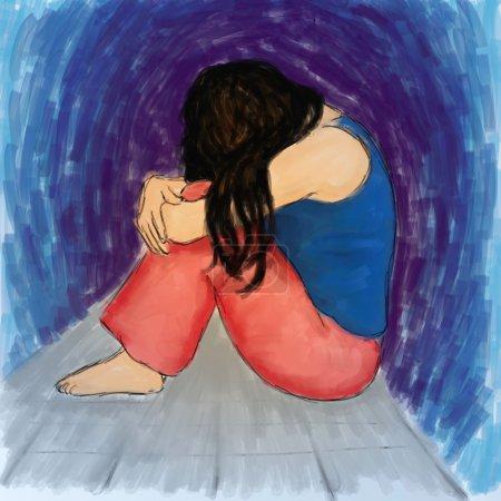 Photo for Illustration of sad woman - Royalty Free Image