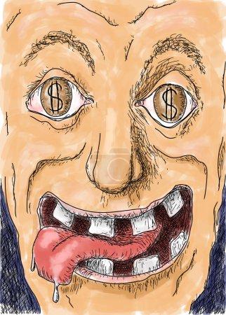 Photo pour Dessiner une caricature de gourmand - image libre de droit
