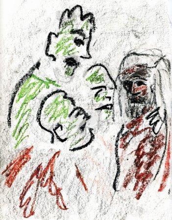 Photo pour Jésus devant le Sanhédrin - image libre de droit