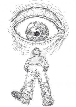 Illustration with an eye that looks at a man...