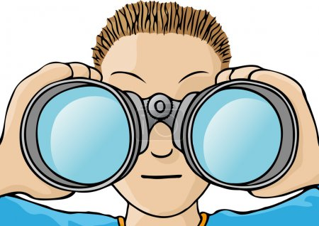 Illustration for Child with binoculars - Royalty Free Image