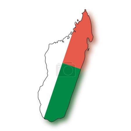 Карта флаг Мадагаскара