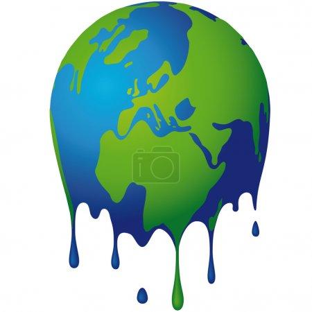 Illustration for Illustration of the globe that melts - Royalty Free Image