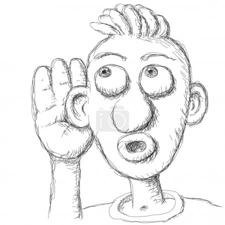 Illustration for Illustration of person who listens, freehand drawing - Royalty Free Image