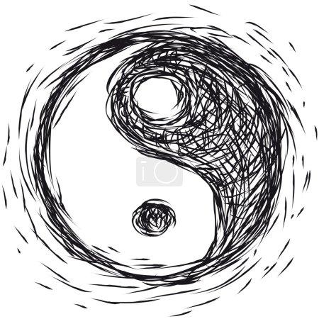 Illustration for Vector illustration, Ying yang symbol - Royalty Free Image