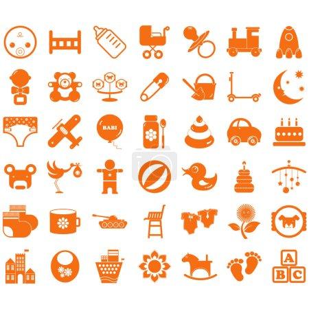Illustration pour Collection enfants icônes . - image libre de droit