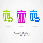Graphic design basket trash can icon button