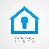 Graphic design logo lock house