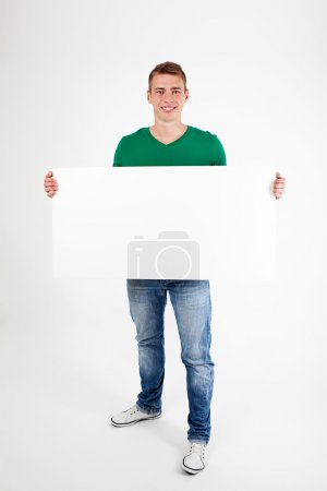 Man with sign isolated