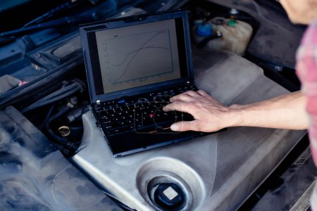 Photo for Car mechanic with laptop checking enine - Royalty Free Image