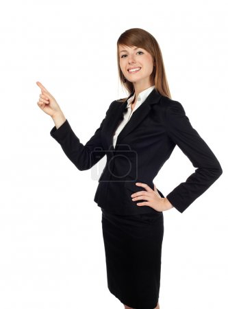 Photo for Pretty businesswoman pointing. Isolated on white. - Royalty Free Image