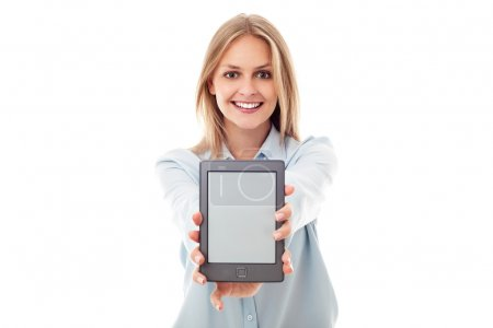 Woman showing ebook reader