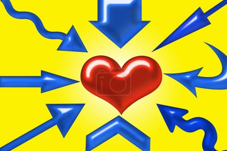 Photo for Arrows pointing different direction and a heart in center - Royalty Free Image