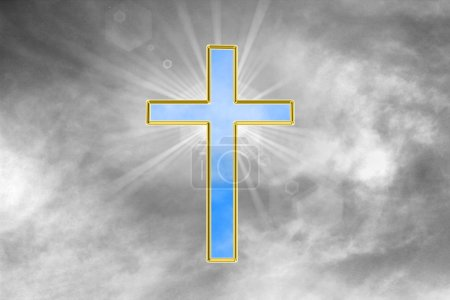 Photo for Illustration of a cross with rays - Royalty Free Image