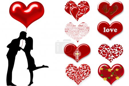 Photo for Silhouette of couples with hearts - Royalty Free Image