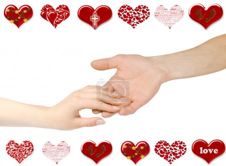 Photo pour Deux mains dans l'amour - image libre de droit