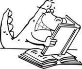 Cartoon illustration of a dinosaur reading a book for coloring page