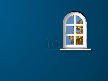 White window blue wall